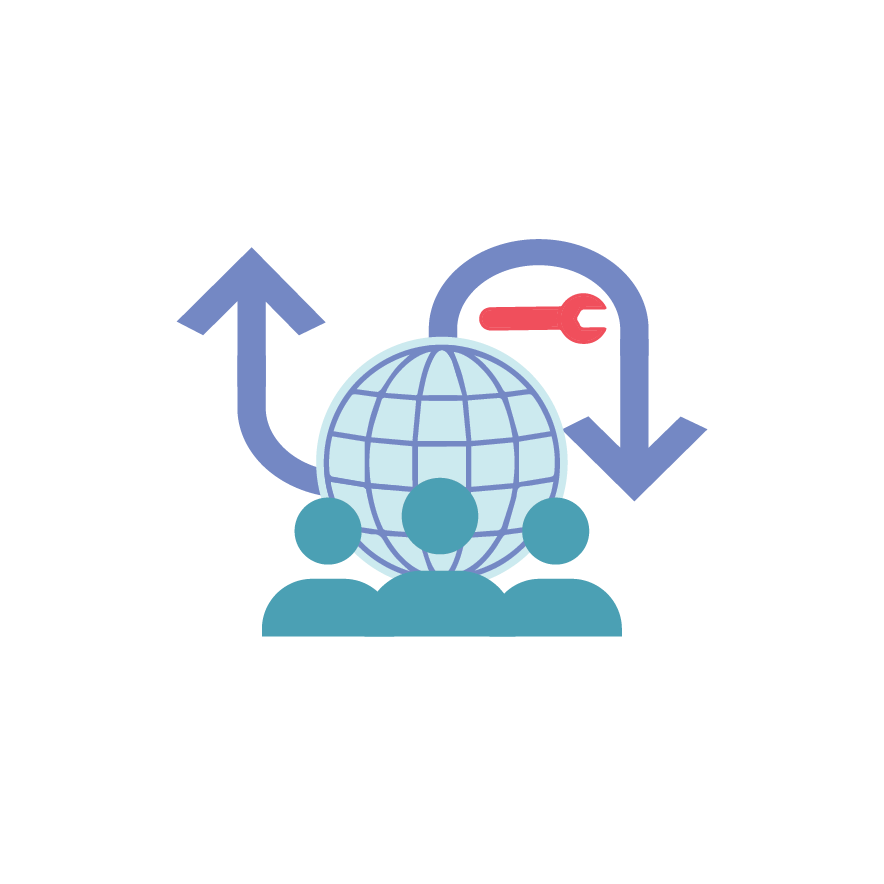 Icon depicting change management in a global team